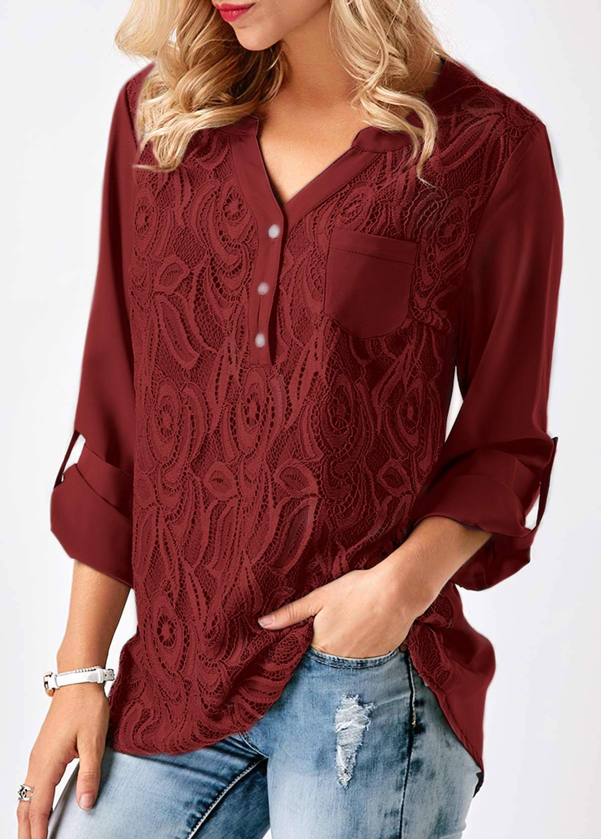 7f4c437ef0be5 Roll Tab Sleeve Lace Panel Wine Red Blouse