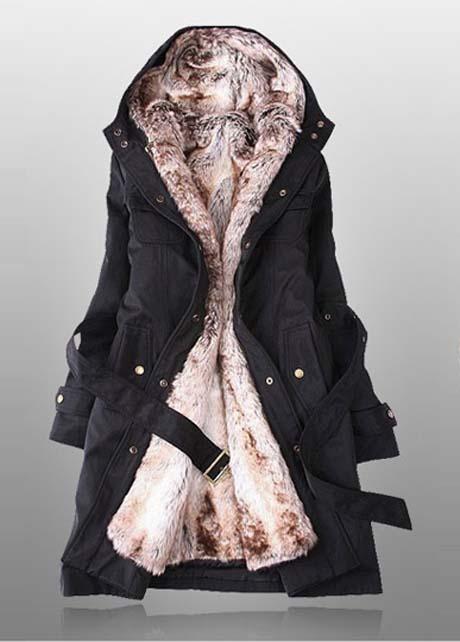 Solid Black Fleece Zipper Fly Hooded Coat