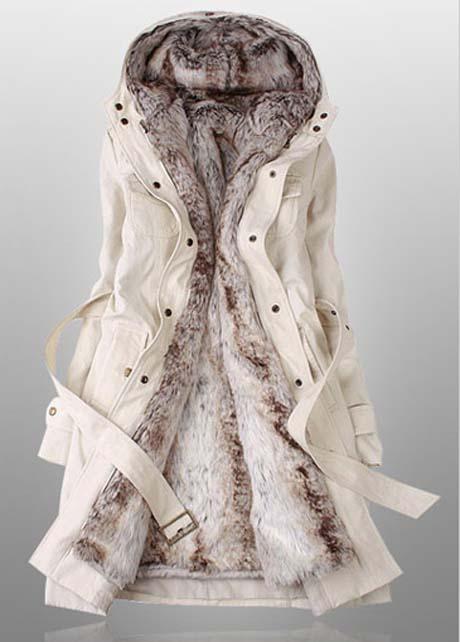 Hairy Inside Long Sleeve Beige Hooded Coat