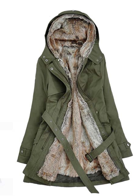 Army Green Hairy Inside Parka Coat