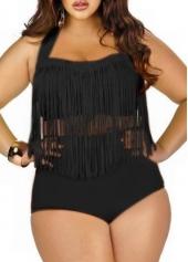 Black Plus Size High Waist Fringed Two Piece Swimwear