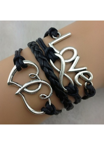 Image of Black Love Infinity Braided Bracelet