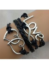 Black Love Infinity Braided Bracelet