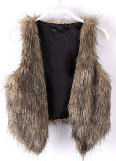 Faux Fur Solid Brown Short Waistcoat
