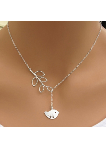 Bird Pendant Leaves Lariat Silver Sterling Necklace