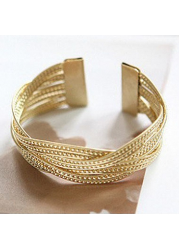 Gold Knitted Twisted Metal Rattan Wide Bracelet