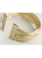 wholesale Gold Knitted Twisted Metal Rattan Wide Bracelet