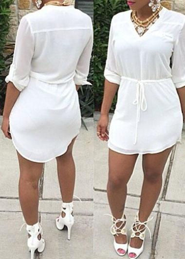 V Neck Drawstring Design White Asymmetric Dress