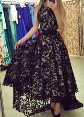 Black Round Neck Asymmetric Hem Lace Maxi Dress