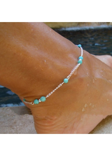 Image of Silver Metal Blue Stone Decorated Anklet