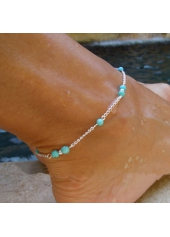 Silver Metal Blue Stone Decorated Anklet