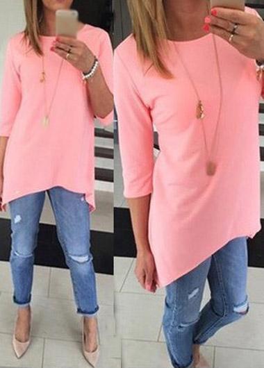Three Quarter Sleeve Pink Asymmetric T Shirt