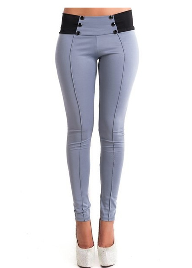 Button Decorated Grey Ankle Length Pants
