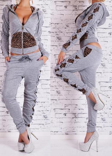 Leopard Print Light Grey Two Piece Sweats Set