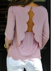 Button Closure Backless Pink Layered Blouse