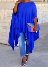 Royal Blue Side Slit Asymmetric T Shirt  Dress