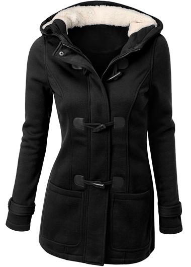 Single Breasted Long Sleeve Black Coat