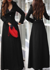 Black Turndown Collar Woolen Coat