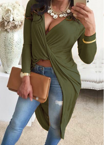 Image of Army Green Long Sleeve Asymmetric T Shirt