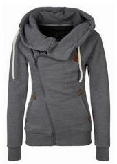 Dark Grey Zipper Closure Hooded Sweats