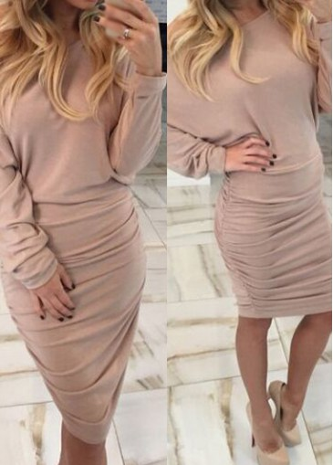 Image of Apricot Skew Neck Ruched Mini Dress