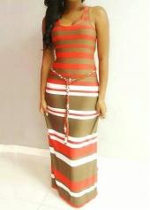 Stripe Print Sleeveless Round Neck Maxi Dress