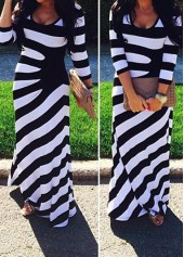 Stripe Print Three Quarter Sleeve Dress