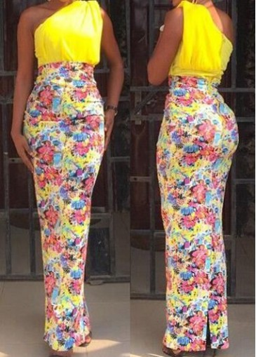 Buy online Yellow One Shoulder Printed Maxi Dress