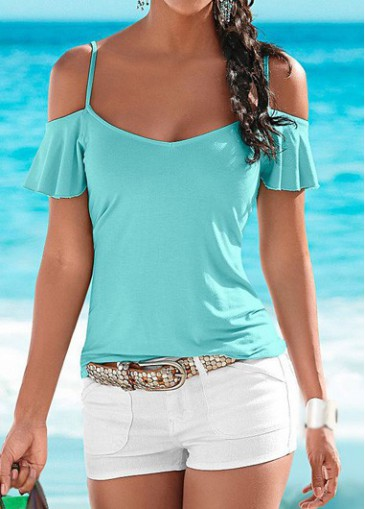 Buy online Short Sleeve Cold Shoulder Cyan T Shirt