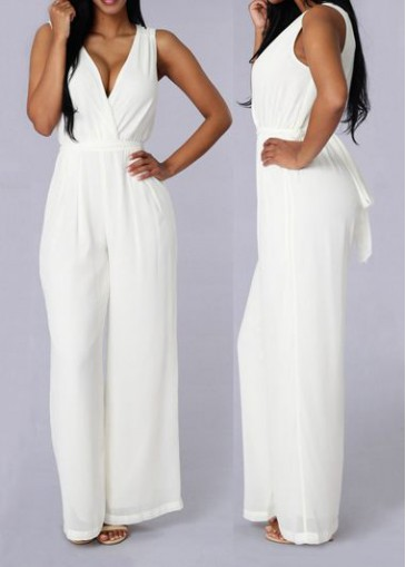Buy online Solid White V Neck Sleeveless Jumpsuits