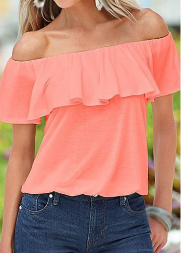 Buy online Flouncing Design Off the Shoulder Pink Blouse