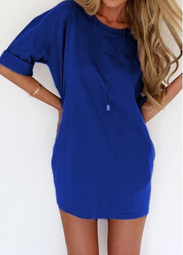 Buy online Royal Blue Short Sleeve Round Neck T Shirt