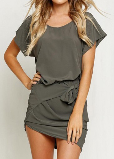 Buy online Round Neck Short Sleeve Army Green Dress
