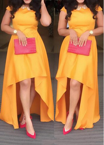 Buy online Orange Cap Sleeve High Low Dress