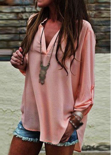 Buy online V Neck Long Sleeve Asymmetric Pink Blouse