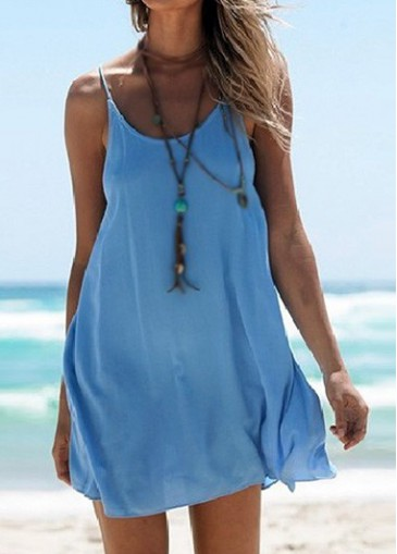 Buy online Blue Criss Cross Back Straight Dress
