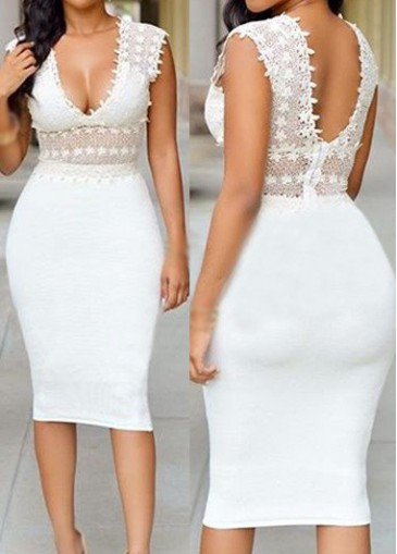 Buy online Open Back Sleeveless White Knee Length Dress