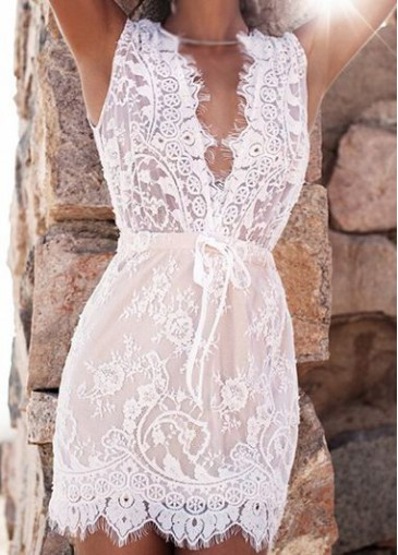 Buy online V Neck White Lace Sleeveless Mini Dress
