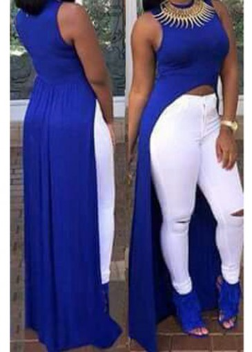 Buy online Sleeveless Royal Blue High Low Top