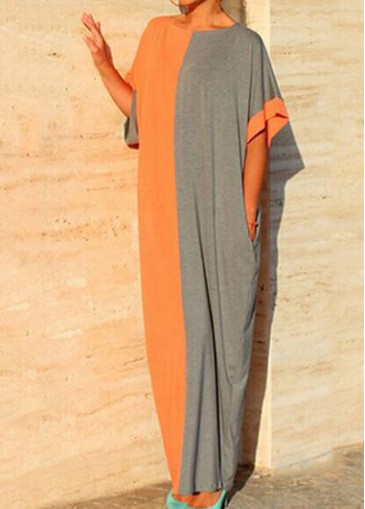 Buy online Round Neck Batwing Sleeve Color Block Maxi Dress