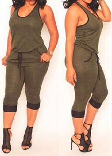 Buy online Sleeveless Pocket Design Army Green Jumpsuit