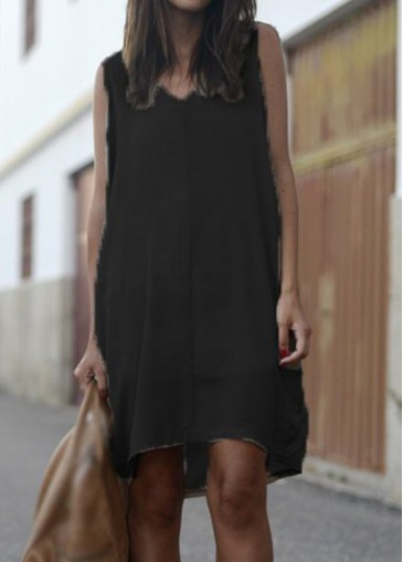 Buy online V Neck Sleeveless Black Asymmetric Dress