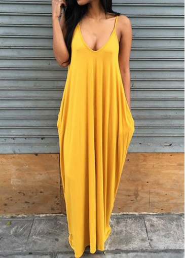 Buy online Spaghetti Strap Ginger Open Back Maxi Dress