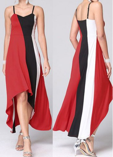 Buy online Spaghetti Strap Color Block High Low Dress