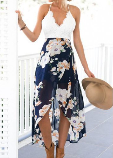 Buy online Flower Print V Neck Open Back Asymmetric Dress