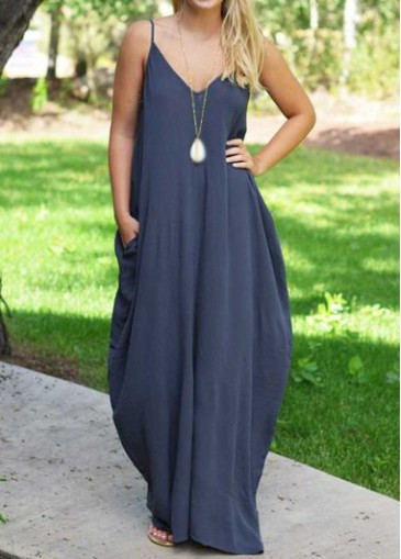 Buy online Spaghetti Strap V Neck Navy Blue Maxi Dress
