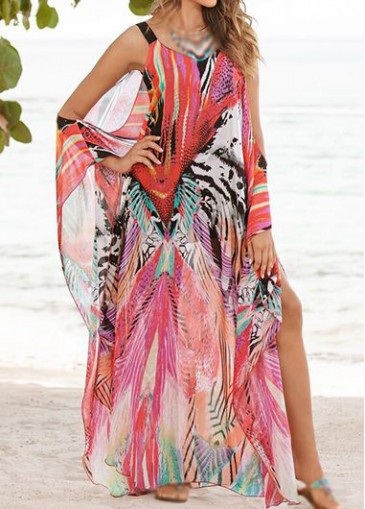 Buy online Bohemian Off The Shoulder Printed Dress