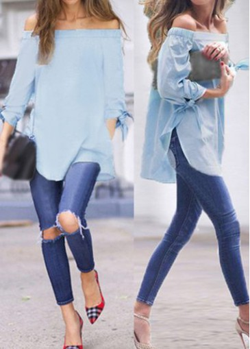Buy online Off the Shoulder Double Slit Light Blue Blouse