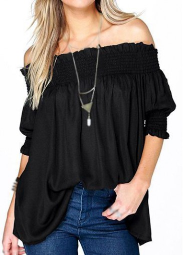 Buy online Off The Shoulder Black Loose Blouse