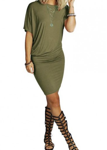 Buy online Round Neck Army Green Mini Sheath Dress